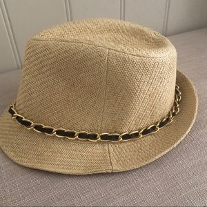 Charlotte Russe Braided Chain Straw Fedora Hat